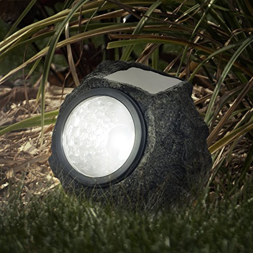 Solar Powered Rock Lights (Set of Four)- Low Voltage LED Outdoor Stone Spotlight Fixture for Gardens, Pathways, and Patios by Pure Garden (Garden Light Sets)