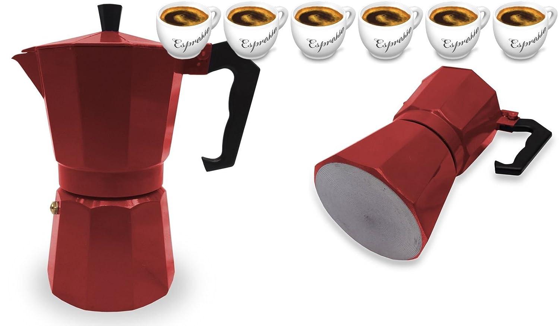 Cafetera italiana de espresso para fogón (6 tazas, color rojo ...