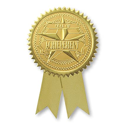 embossed seal of achievement gold foil ribbon certificate seals 2 inch self adhesive