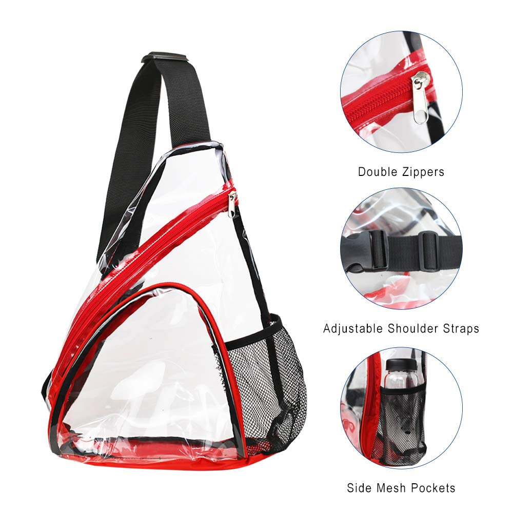 Clear PVC Sling Bag - Stadium Approved Transparent Shoulder Crossbody Backpack for Women & Men,Perfect for Work, Travel, Stadium and Concerts by Magicbags (Image #4)