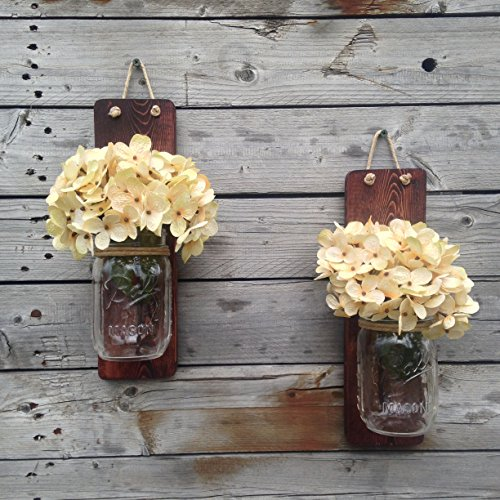 Tennessee Wicks Handcrafted Rustic Mason Jar Wall Wooden Sconce, Set of 2, With Optional Off White Hydrangea Spray … (Sconce Light Jar Mason Wall)