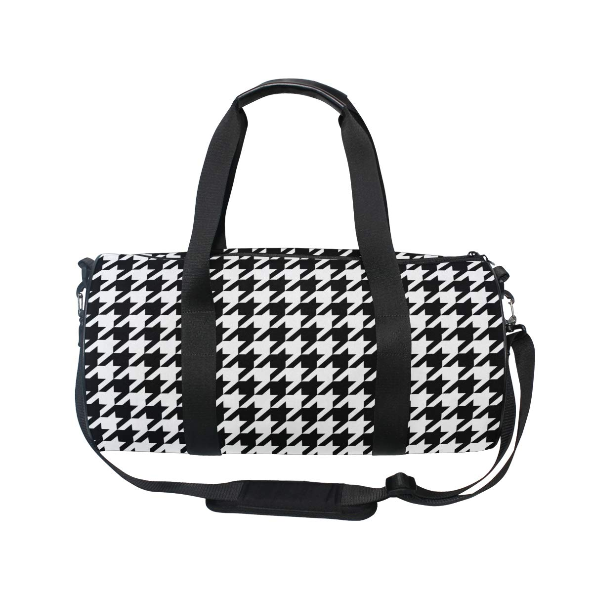 Classic Houndstooth Travel Duffel Bag Sports Gym Duffel Bag Luggage Handbag for Men Women