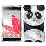 Asmyna LGE970HPCDM296NP Dazzling Diamante Bling Case for LG Optimus G E970 - 1 Pack - Retail Packaging - Playful Panda