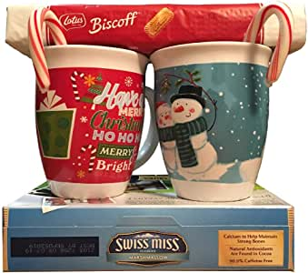 Baby, It's Cold Outside Cocoa and Cuddle Up Kit: Two, 14 Ounce, Festive Holiday Themed Mugs, One 6 Package Swiss Miss Hot Chocolate, One 8.8 Ounce Biscoff Premium Cookie Pack, and Two Candy Canes