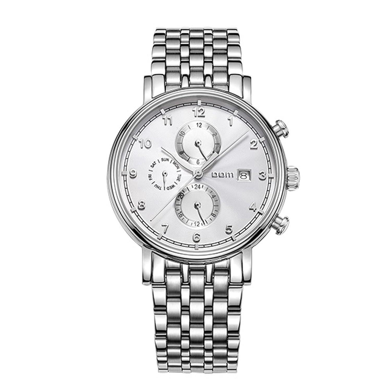 Sheli Selbstaufzug Automatik Mechanik Schmuck Uhr Silber Ton Armbanduhr mit Tag Datum fÜr Herren