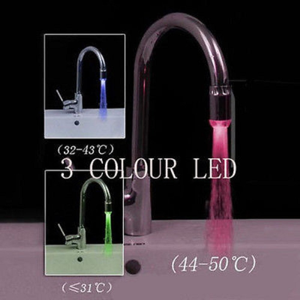 New Magical 3 Color Sensor LED Light Water Faucet Tap Temperature ...