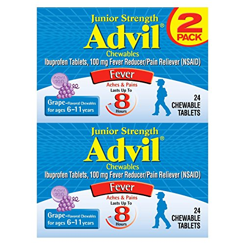 Advil Junior Strength Chewables (24 Tablets, Grape Flavor), 100mg Ibuprofen, Fever Reducer/Pain Reducer, Ages 2-11, Pack of 2 (Extra Chewable Strength)