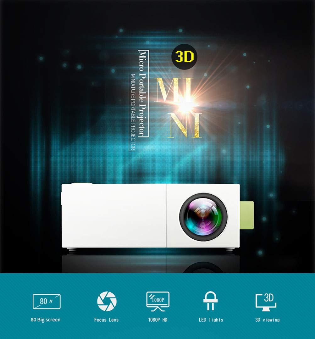 ミニプロジェクター、LEDビデオプロジェクター、最新のLCDテクノロジーのサポート1080 Pポータブルミニマルチメディアプロジェクターホームシアターエンターテイメントゲームパーティーに最適, white B07S1STMP9