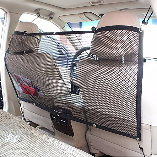 FREESOO Car Pet Barrier Safety Net for Dog, Vehicle Universal Mesh Fence Safety Barrier Durable Travel Blocks Dogs Access to Car Front Seats ()