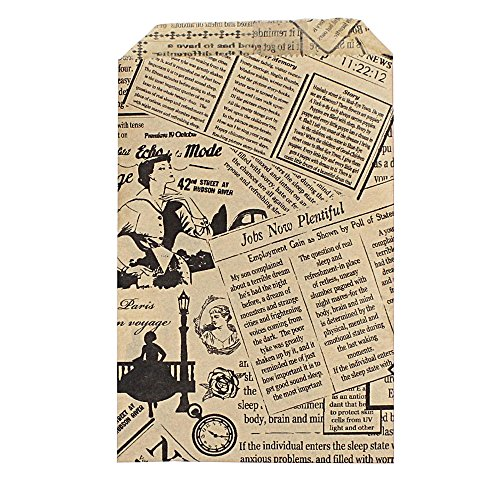 200 pcs News Paper Print Kraft Paper Mer - Brown Damask Gift Shopping Results