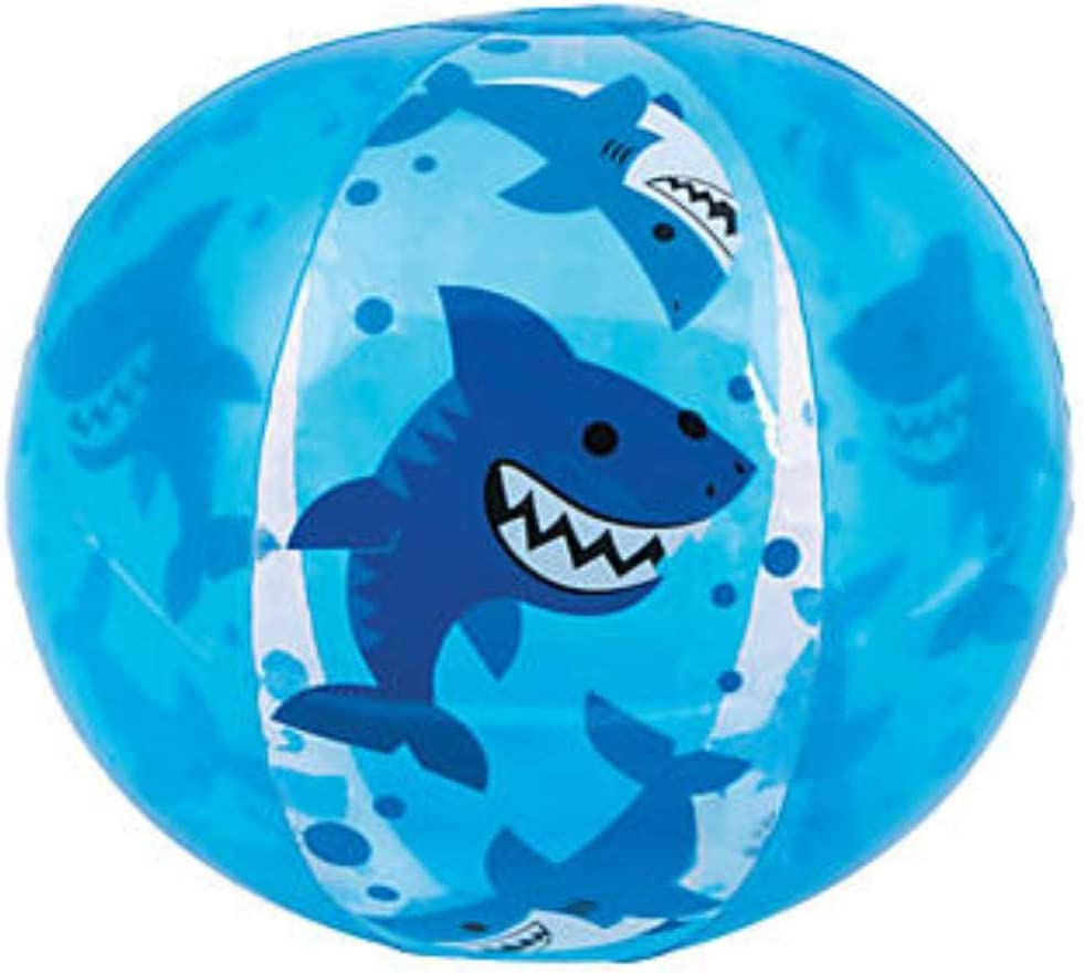 Fun Express 12 Pack - Inflatable Shark Party Beach Balls - Pool or Birthday Party Theme Mini Beach Balls - 11 Inch