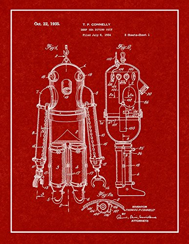 Deep Sea Diving Suit Patent Print Burgundy Red with Border (5