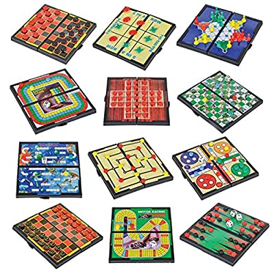 "Wish Novelty-5"" 12 Magnetic Travel Board Game Set- Retro Fun Games- Great for Road Trip/Travel/Camping Entertainment- Individually Boxed- Great Gift for all Ages"