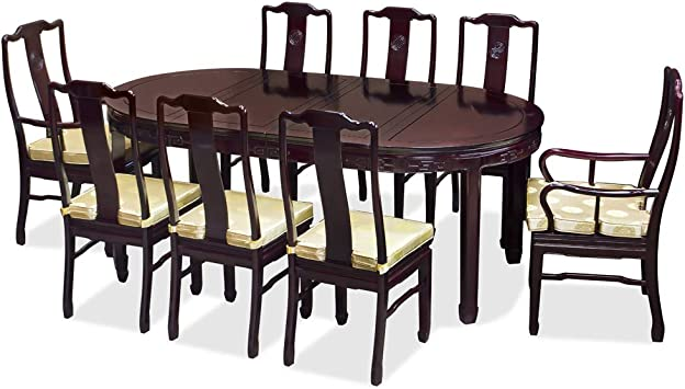 Amazon Com Chinafurnitureonline Rosewood Asian Dining Table 8 Chairs 80 Inch Oval Longevity Dark Cherry Table Chair Sets
