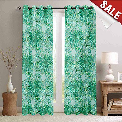 Hengshu Turquoise Waterproof Window Curtain Floral Pattern with Beryl Crystal Guilloche Flowers Carving Art Elements Image Print Decorative Curtains for Living Room W108 x L108 Inch Green