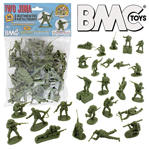 (BMC WW2 Iwo Jima US Marines Plastic Army Men - 36 American Soldier Figures)