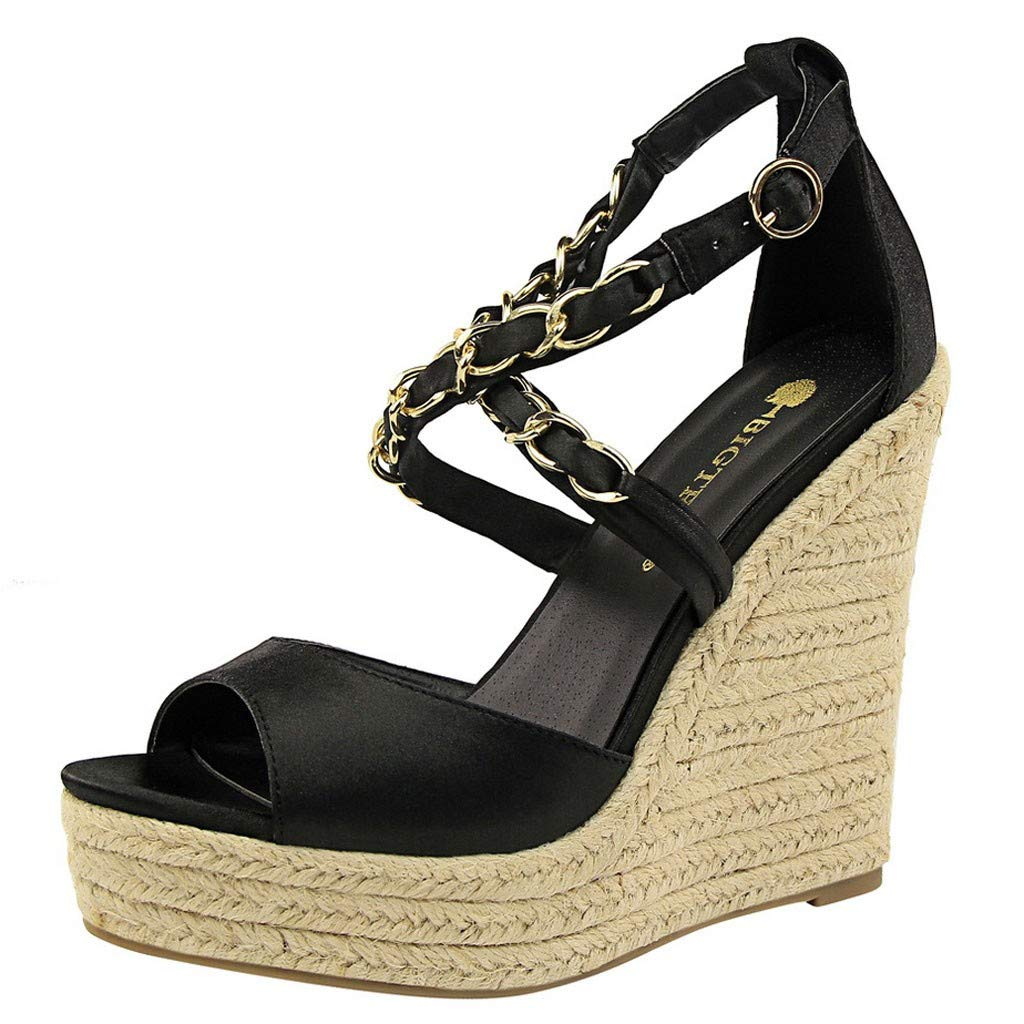 Kauneus Womens Stylish Strappy Criss Cross Open Toe Wedge Buckle Ankle Strap Waterproof Platform Sandals Multicolor Black by Kauneus Fashion Shoes