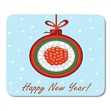 Luancrop Cojín de ratón Año Nuevo Navidad Sushi representado ...