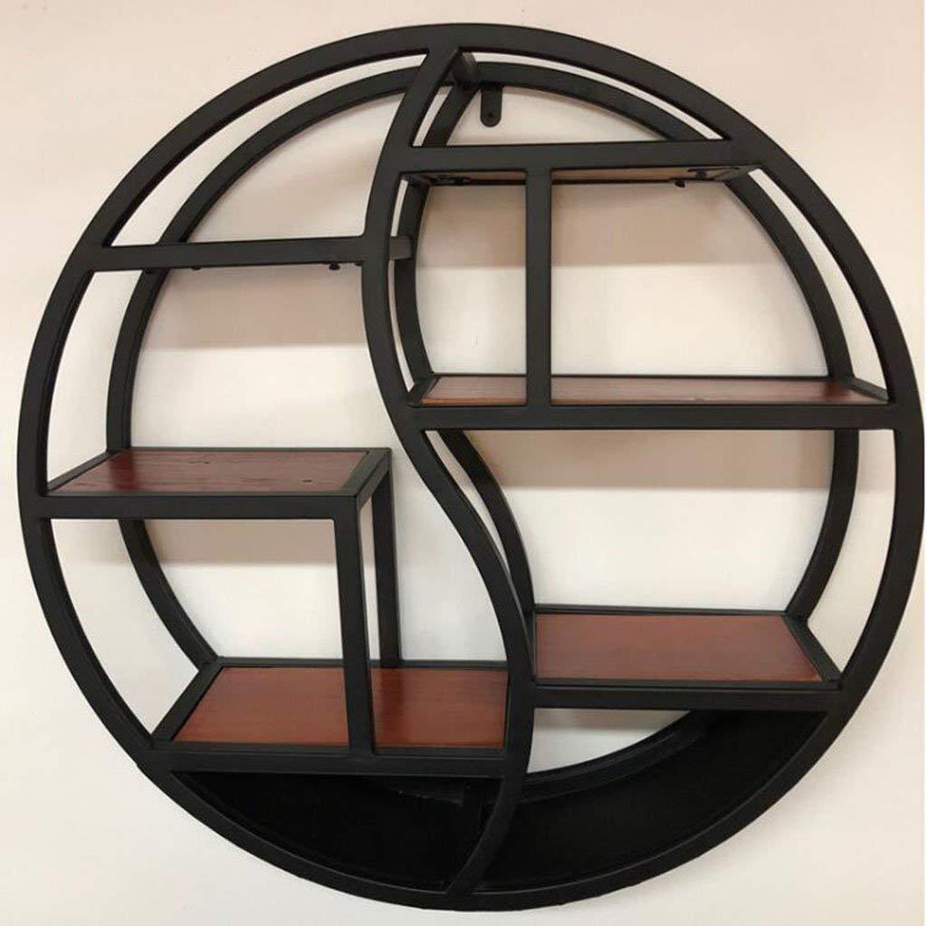 Lixingmingqi 壁無垢材のレトロな本棚の錬鉄製の丸い壁ラックシンプルな創造的な装飾。棚 (サイズ : Diameter60*16cm) B07RHFBTT7  Diameter60*16cm