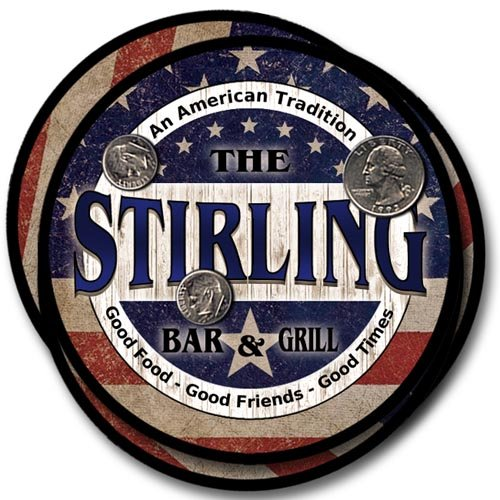 Stirling Family Bar and Grill Rubber Drink Coaster Set - Patriotic Design ()