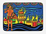 Ambesonne Psychedelic Bath Mat, Ethnic Spiritual Faith Prince Eastern Tribal Ancient Oriental Bohemian Image, Plush Bathroom Decor Mat with Non Slip Backing, 29.5 W X 17.5 W Inches, Orange Blue