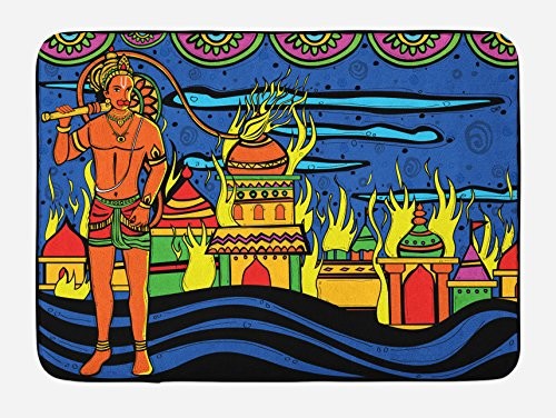 Ambesonne Psychedelic Bath Mat, Ethnic Spiritual Faith Prince Eastern Tribal Ancient Oriental Bohemian Image, Plush Bathroom Decor Mat with Non Slip Backing, 29.5 W X 17.5 W Inches, Orange Blue by Ambesonne