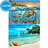Arts & Crafts : 2 Packs 5D DIY Diamond Painting Paint by Numbers Kits for Adult, Turtle & Beach Full Drill Diamond Embroidery Paintings Pictures Arts Craft for Home Decoration by INFELING