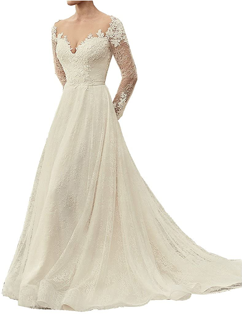 Kevins Bridal Deep V Neck Lace Wedding Dress Long Sleeves Backless