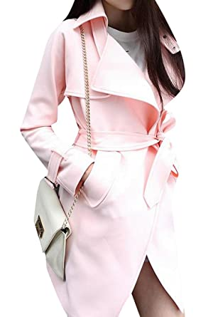 Yayu Women's Open Front Long Sleeve Trench Coat Jacket Clothes Pink XL