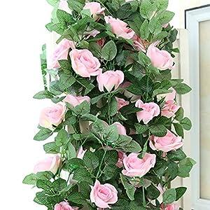 Crt Gucy 16FT 2 Pcs Fake Silk Rose Vine Garland Artificial Flowers plants for Hotel Wedding Home Party Garden Craft Art Décor,Pink 12