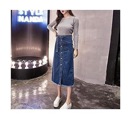 e616200e72ec1 Amazon.com: Micca Bacain Button A Line Korean Long Jeans Women Skirt ...
