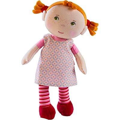 "HABA Snug Up Roya - 10"" Soft Doll with Fuzzy Red Pigtails, Embroidered Face and Removable Pink Dress (Machine Washable) for Ages 18 Months +: Toys & Games"
