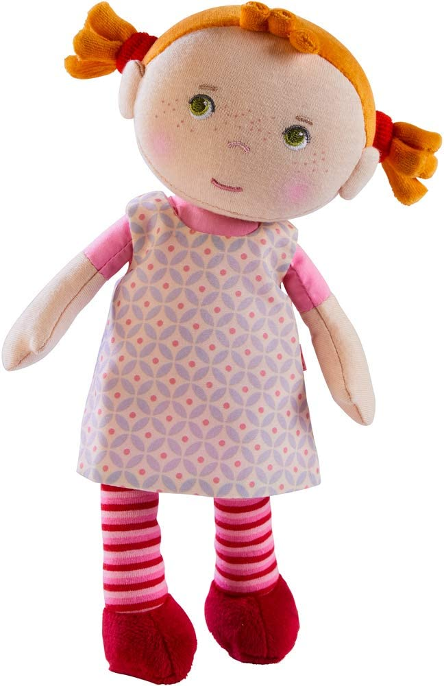 """HABA Snug Up Roya - 10"""" Soft Doll with Fuzzy Red Pigtails, Embroidered Face and Removable Pink Dress (Machine Washable) for Ages 18 Months +"""