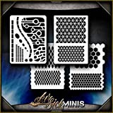 Mini Geometric AirSick Pattern Shapes Airbrush Stencil Art Template - Reusable Multi-Layer Painting Patterns for Cars, Motorcycle, Tatoos, Walls, Cakes, T-Shirts, Hair, Scrapbooks Etc