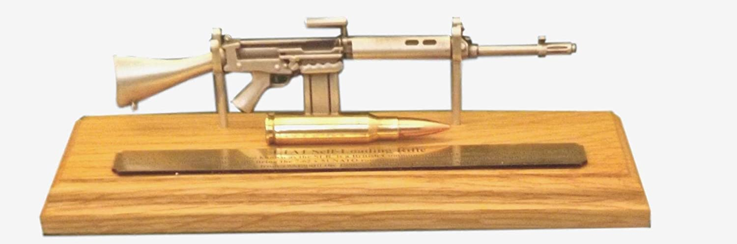 L1A1 SLR miniature 1/6 scale Pewter rifle on solid light Oak wooden plinth