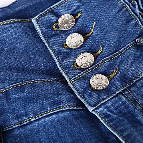 Pecho Alto Solo Con Casuales Mezclilla Bolsillos Alta Pitillo Elásticos Cintura Las Pantalones Acogedores De Hellblau Un Vaqueros Mujeres Talle qYwA87O