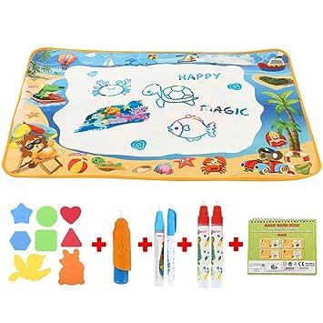 Hootecheu Geschenke Für 2 4 Jährige Mädchen Aqua Zauber Doodle Matte Set Wasser Gekritzel Matte 70100cm Kinder Spiele Ab 2 Jahre Jungen Malen