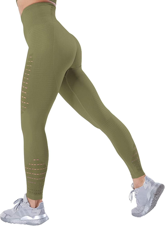 CHRLEISURE Seamless Workout Gym Tights for Women - High Waist Compression Tummy Control Yoga Pants