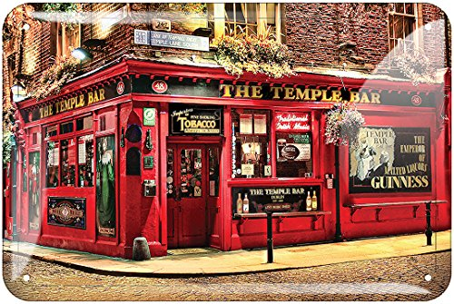 Metal Sign of The Famous Irish Bar The Temple Bar, Renowned for Its ()