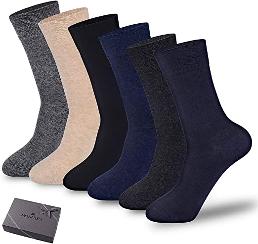 5 Pairs Mens 98/%Combed Cotton Solid Dress Casual Warm Thick Soft Basic Socks Lot