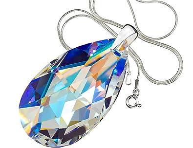 Swarovski Kristallen Halskette Blau Aurora Sterling Silber Anhänger ...