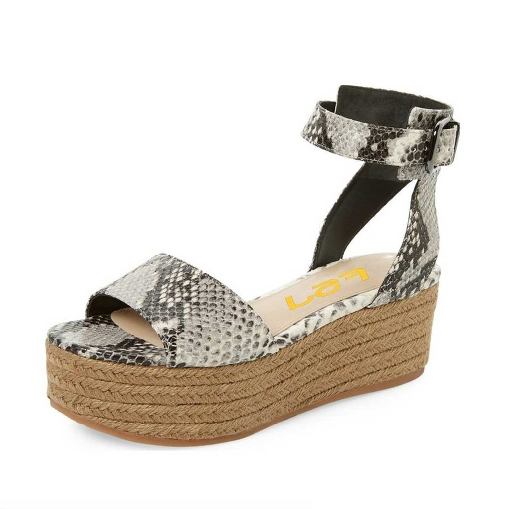 FSJ Women Casual Espadrilles Wedges Shoes Open Toe Slingback Sandals with Platform Size 8 Snake