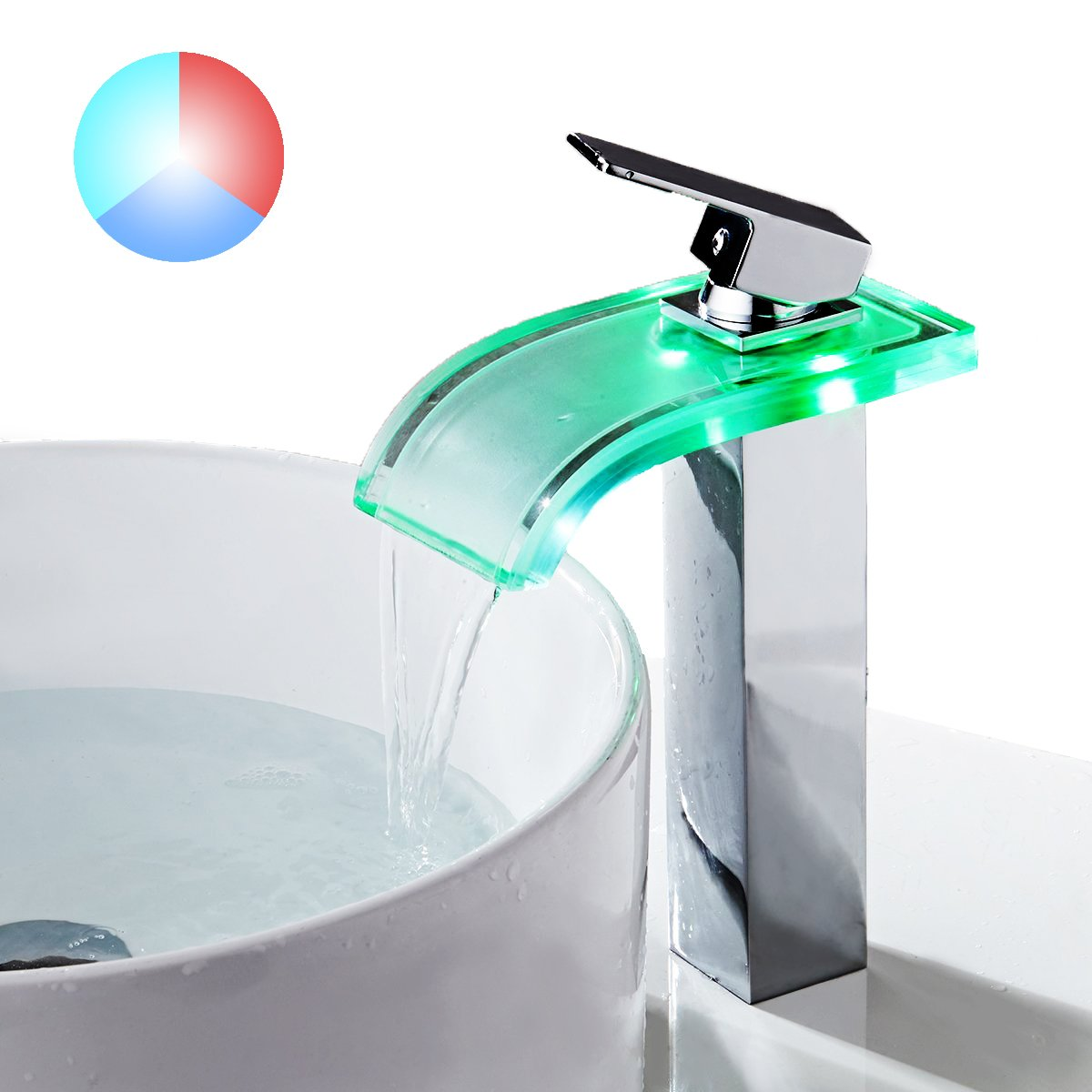 TAPCET Kitchen Faucet, LED Waterfall Kitchen Sink Faucet, 3 Colors ...