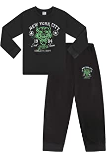 Boys New York City NYC College Short Pyjamas 11 to 16 Years Black Pj PJs