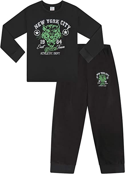 Boys New York City NYC College Long Pyjamas 9 to 16 Years Green