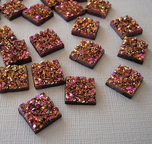 - BeadsTreasure 20pcs- Druzy Resin Cabochons, Flat Square, Sparkly Glitter, Gold Purple.