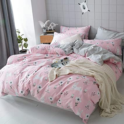 d9f1acc86d35 OTOB Cartoon Rabbits Bunny Twin Duvet Cover Set for Kids Toddler 100% Cotton  Lightweight Breathable