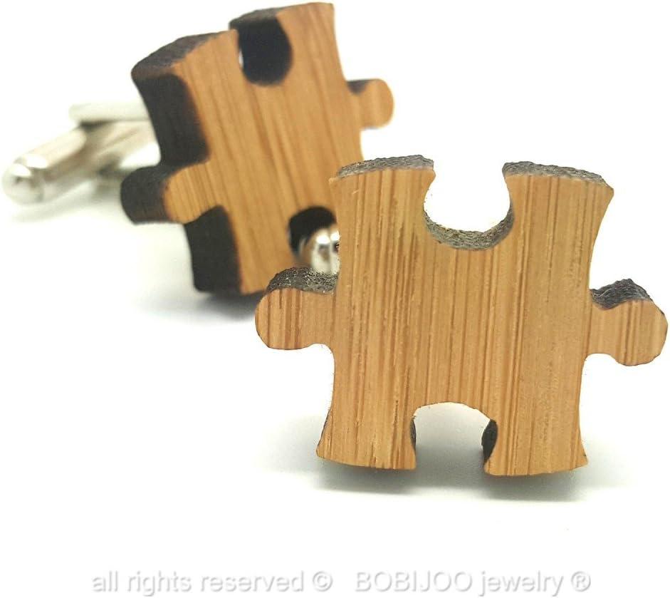 Paire Boutons de Manchette en Bois Naturel Bambou Forme Pi/èce Puzzle M/étal Homme BOBIJOO Jewelry