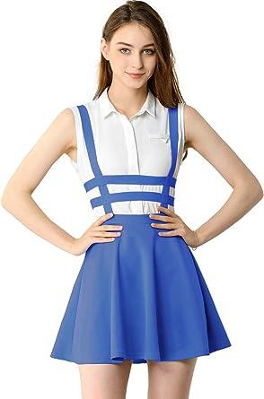 Imagen deAllegra K Falda Mini con Tirantes Cintura Elástica Falda Acampanada Recortada Corte A-Línea para Mujer Disfraz De Halloween