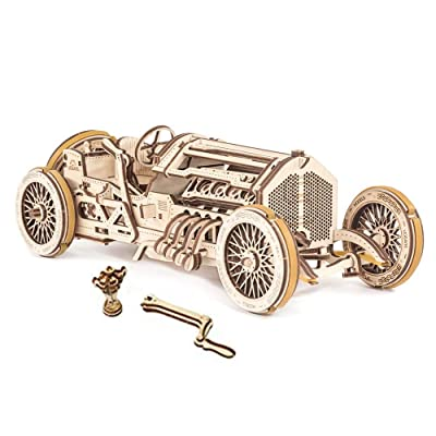 Mechanical UGEARS wooden 3D puzzle Model U-9 Grand Prix Car Construction Set: Toys & Games